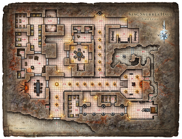 Hall of the Fire Giant King; Map 1 (Digital DM & Player Versions)
